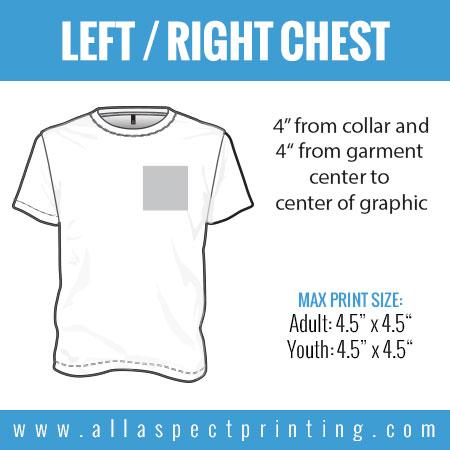 All Aspect Shirt Printing Location Left Right Chestt